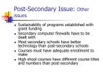 post secondary issue other issues