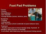 foot pad problems