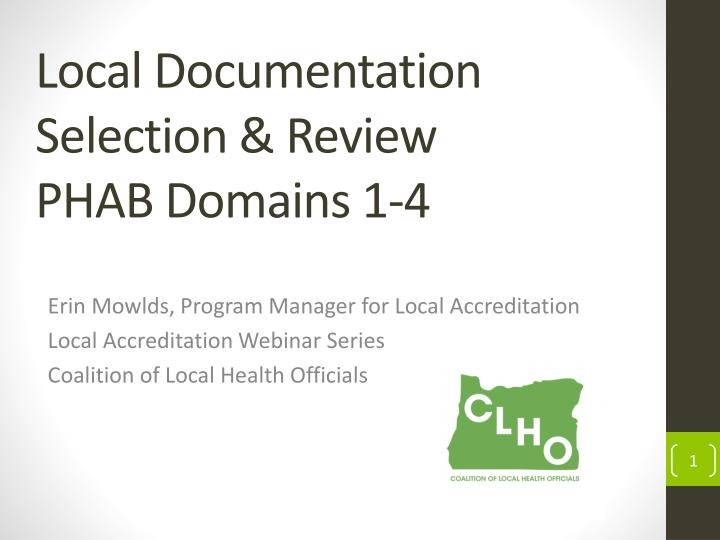 local documentation selection review phab domains 1 4 n.