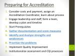preparing for accreditation