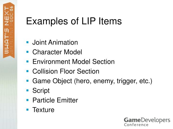 Examples of LIP Items