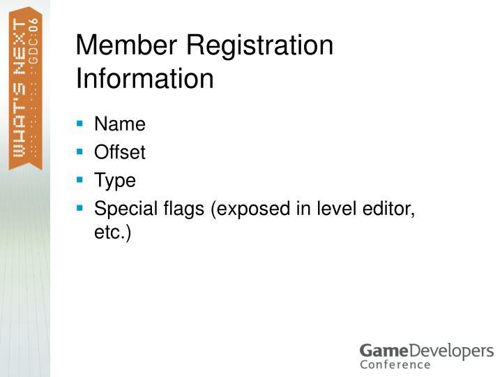 Member Registration Information