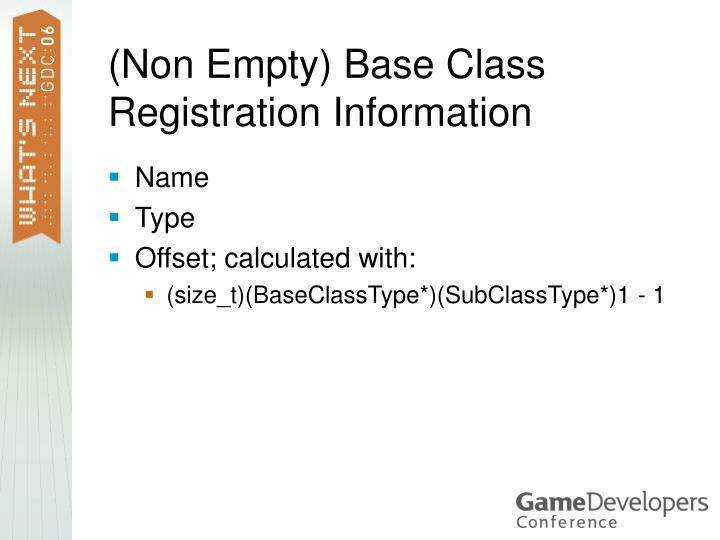 (Non Empty) Base Class Registration Information