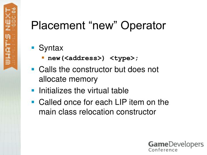 """Placement """"new"""" Operator"""