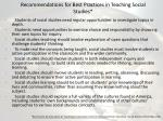 recommendations for best practices in teaching social studies