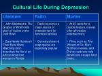 cultural life during depression
