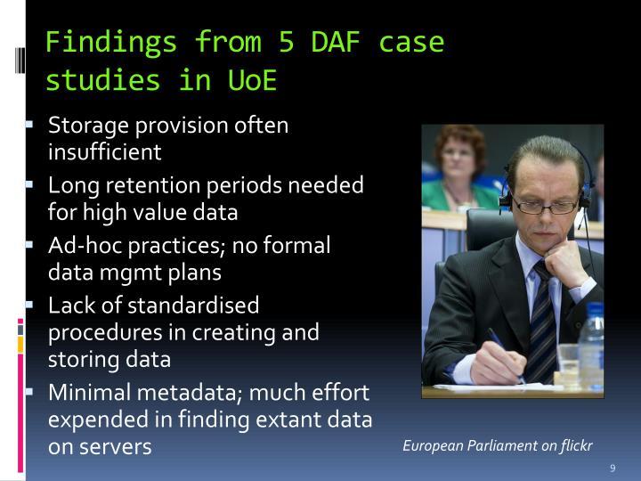 Findings from 5 DAF case studies in
