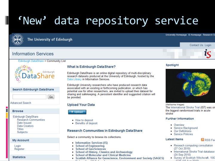'New' data repository service