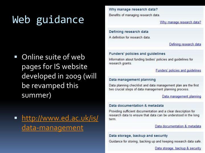 Web guidance
