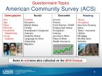 questionnaire topics american community survey acs