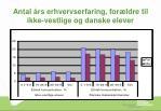 antal rs erhvervserfaring for ldre til ikke vestlige og danske elever