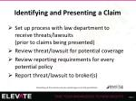 identifying and presenting a claim