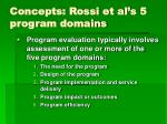 concepts rossi et al s 5 program domains