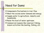 need for dams