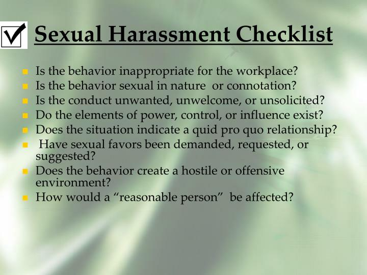 Sexual Harassment Checklist