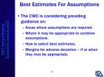best estimates for assumptions1