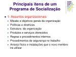 principais itens de um programa de socializa o