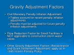 gravity adjustment factors