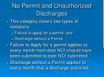 no permit and unauthorized discharges