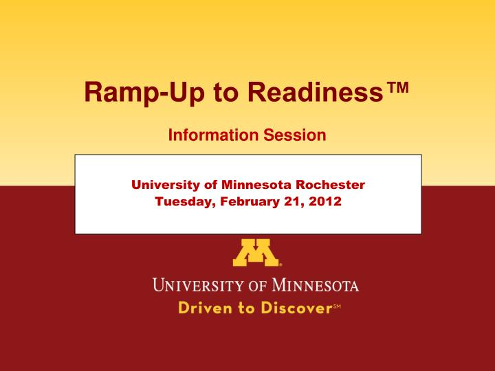 ramp up to readiness n.