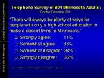 telephone survey of 804 minnesota adults october december 2011
