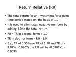 return relative rr