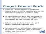 changes in retirement benefits1
