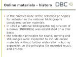 online materials history