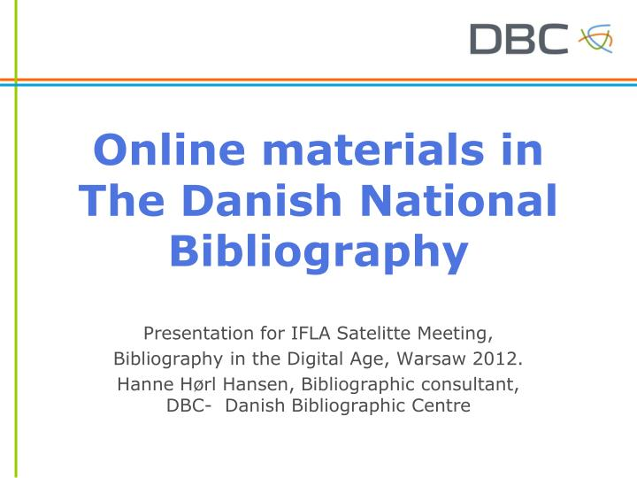 online materials in the danish national bibliography n.