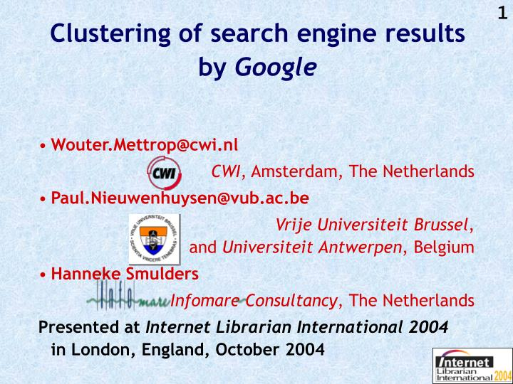 clustering of search engine results by google n.