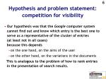 hypothesis and problem statement competition for visibility