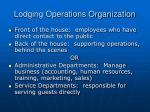lodging operations organization