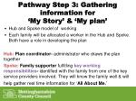 pathway step 3 gathering information for my story my plan
