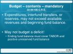 budget contents mandatory 22 44 105 c r s1