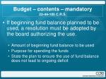 budget contents mandatory 22 44 105 c r s2