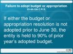 failure to adopt budget or appropriation 22 44 104 c r s