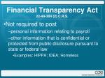 financial transparency act 22 44 304 2 c r s