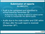 submission of reports 29 1 606 c r s