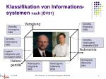 klassifikation von informations systemen nach v91