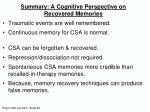 summary a cognitive perspective on recovered memories