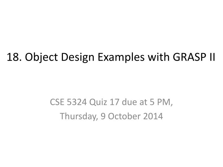 18 object design examples with grasp ii n.