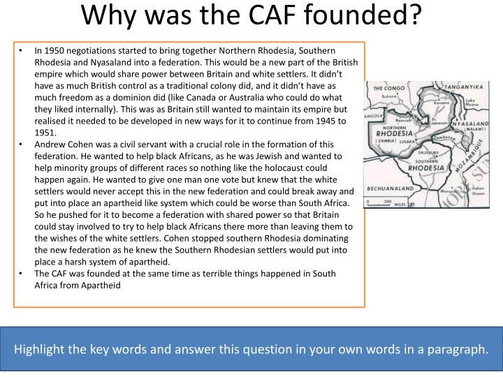 why was the caf founded n.