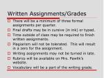 written assignments grades