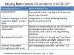 moving from current ca standards to ngss ca