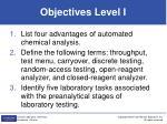 objectives level i
