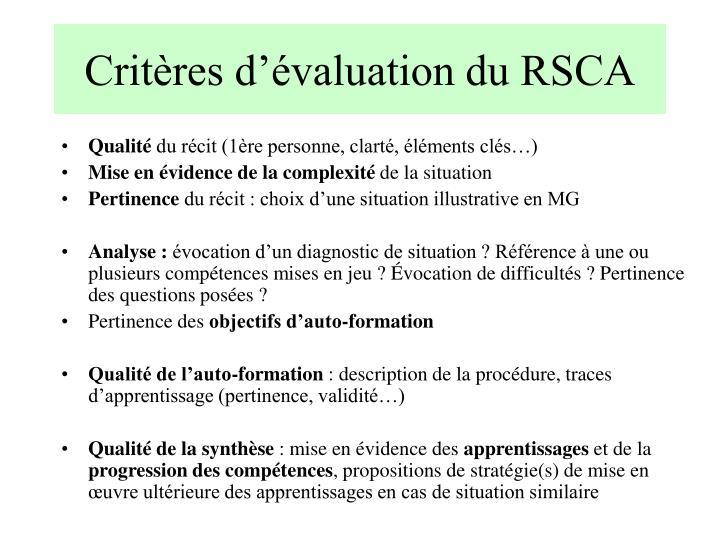 Critères d'évaluation du RSCA
