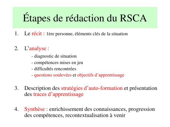 Étapes de rédaction du RSCA