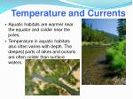 temperature and currents