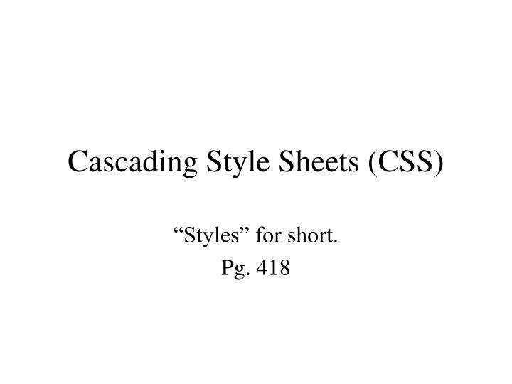 cascading style sheets css n.