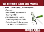 dbe selection a two step process